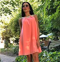 """Летнее короткое платье """"тапеция"""" с бусинками. Персиковое, 5 цветов. Р-ры:42,44,46,48,50"""