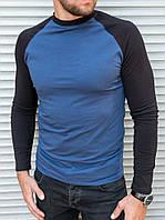 Чоловічий спортивний лонгслив темно синього кольору, фото 1