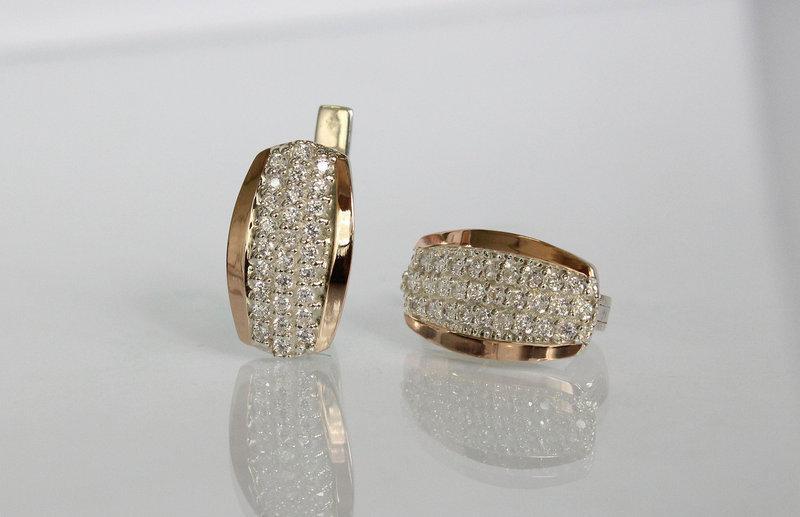 Серебряный серьги из серебра и золота 375 с фианита