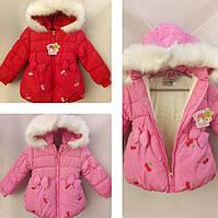 Демисезонная детская куртка на девочку р. 1-3 года вишенка
