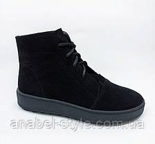 Ботинки из натуральной замши осень-весна черного цвета на шнуровке код 1396 AR, фото 3