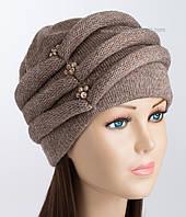 Женская шапка зимняя Октава коричневого цвета