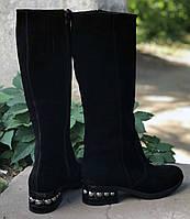 Женские сапоги на невысоком каблуке , натуральная замша  Возможен отшив в других цветах кожи и замши, фото 1