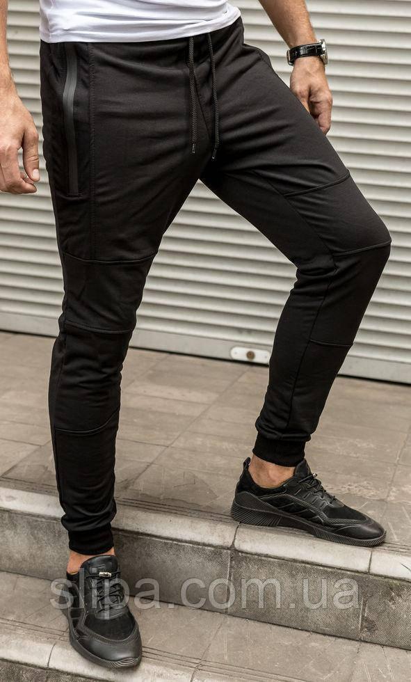 Чоловічі легкі спортивні бігові брюки чорного кольору, на манжеті