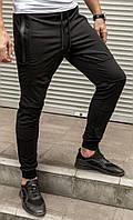 Чоловічі легкі спортивні бігові брюки чорного кольору, на манжеті, фото 1