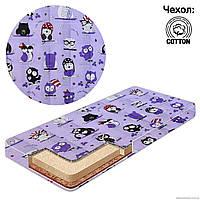 Матрас детский в кроватку кокос - поролон - гречка - хлопок Совы цвет фиолетовый