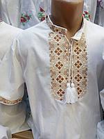 Копия Мужская вышитая рубашка на льне с коротким рукавом, фото 1