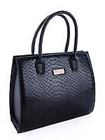 8b18a89ff6c7 Вместительная повседневная женская сумка со змеиным принтом черная