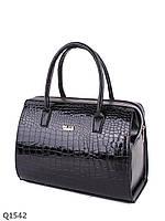 3983835e5e95 Лакированая повседневная жесткая женская сумка со змеиным принтом черная