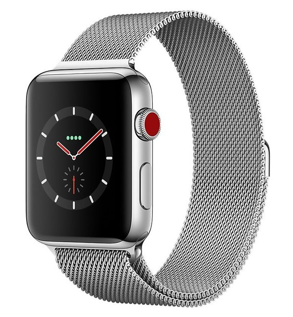 Apple Watch Series 3 GPS+Cellular 38mm Stainless Steel Case with Milanese Loop (MR1F2)