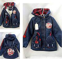 Утепленная детская джинсовая куртка на девочку р. 7-10 лет NEW YORK