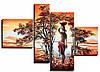 Алмазная вышивка Африканка. Полиптих (4 картины) общий размер 80 х 41 см (арт. FS790)