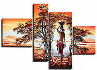 Алмазная вышивка Африканка. Полиптих (4 картины) общий размер 80 х 41 см (арт. FS790), фото 1