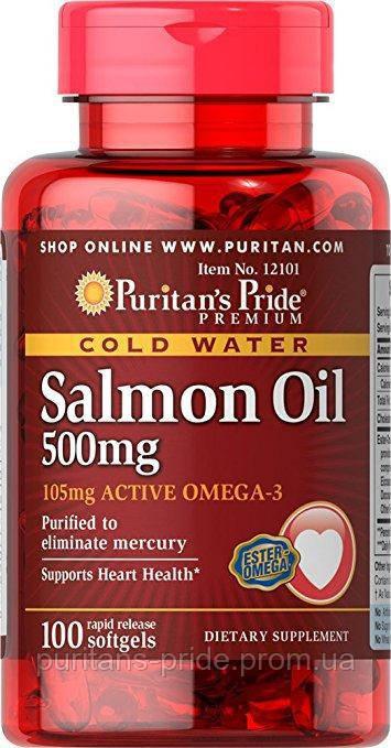 Омега-3 масло лосося Puritan's Pride Omega-3 Salmon Oil 500 mg 100 softgels
