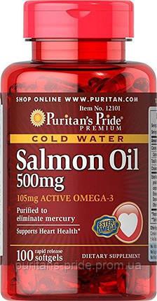 Омега-3 масло лосося Puritan's Pride Omega-3 Salmon Oil 500 mg 100 softgels, фото 2