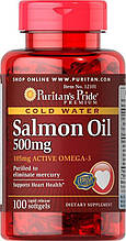 Омега-3 масло лосося Puritan's Pride Omega-3 Salmon Oil 500 mg 100 softgels