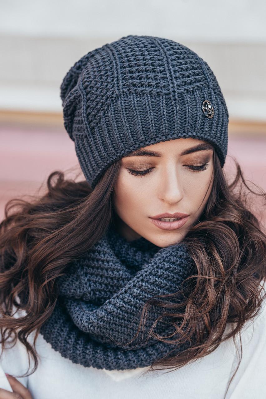 шапка вязаная женская нота графит продажа цена в харькове