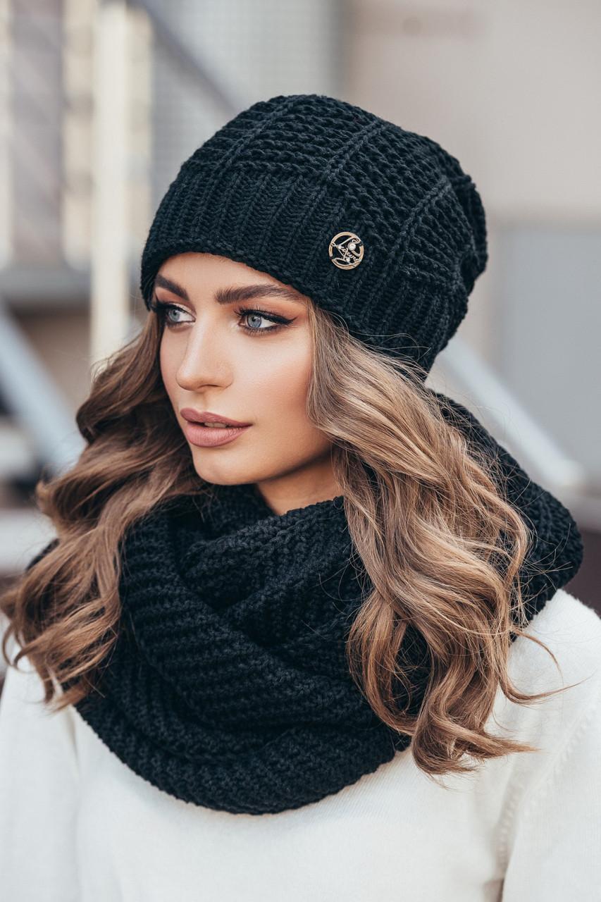 шапка вязаная женская нота черная продажа цена в харькове