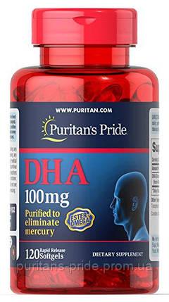Активне довголіття Puritan's Pride DHA 100 mg 120 softgels, фото 2