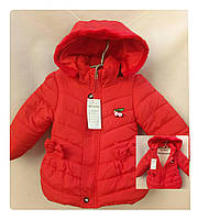 Красивая красная демисезонная куртка на девочку 1-3 года