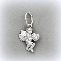 """Серебряный кулон """"Ангелочек с сердечком"""""""