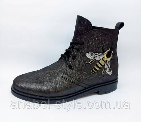 Ботинки из натуральной кожи цвета графита на шнуровке осень-весна код 1775 AR, фото 2