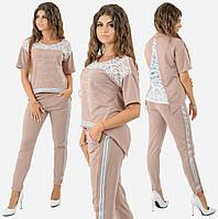 3bd02845 Женский прогулочный костюм с гипюром. Мокко, 4 цвета. Р-ры: 42