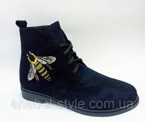 Ботинки из натуральной замши синего цвета на шнуровке осень-весна код 1776 AR, фото 2