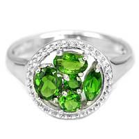 Серебряное кольцо с натуральным камнем хромдиопсидом
