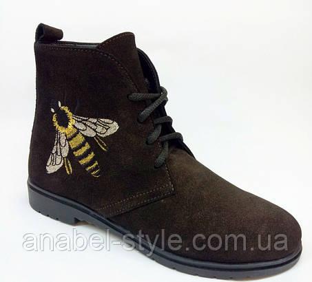 Ботинки из натуральной замши цвета шоколад на шнуровке осень-весна код 1777 AR, фото 2