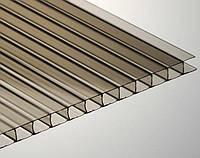 Сотовый поликарбонат Ecopol 6 мм, размер листа 2100х6000 мм, бронзовый