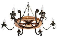 Деревянное бра Колесо Кольцо состаренное темное на 1 лампу, фото 3