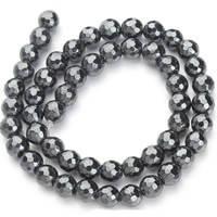 [d-10мм,L 44-45см] Серебристо-серые граненые шарики-бусины из Гематитового стекла (имит.Гематита) на леске