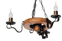 Люстра из дерева Колесо Кольцо на 3 лампы, фото 3