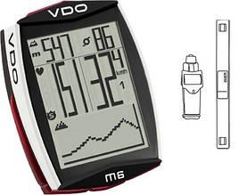 Велокомп'ютер VDO M6 WL бездротовий,+датчик пульсу, чорно-білий
