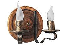 Деревянная люстра Колесо Кольцо Штурвал состаренное темное на 3 лампы, фото 2