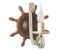 Деревянная люстра Колесо Кольцо состаренное светлое на 3 лампы, фото 3