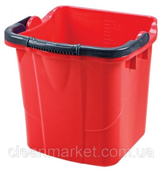 Пластмассовое ведро 25 л квадратное, красное SK 800R
