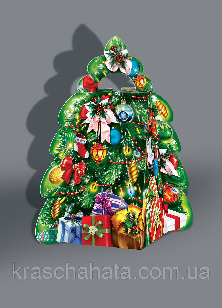 Картонная подарочная коробка, Елка, 500 гр, Новогодняя упаковка для конфет, 25,5х15х19 см