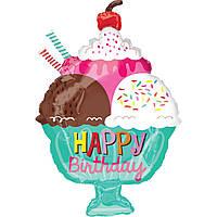 """Фольгированный шар Б/Ф """"Happy Birthday порция мороженого"""""""