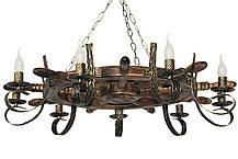 Деревянный настенный светильник Штурвал старый кованный на 6 ламп, фото 3