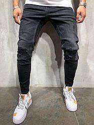 Джинсы мужские рваные Zara темные топ реплика