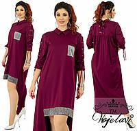 Длинное прямое платье со шнурками. Марсала, 4 цвета. Р-ры:48,50,52,54.