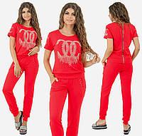 Спортивный костюм с молнией на спинке. Красный, 4 цвета. Р-ры: 42,44,46.