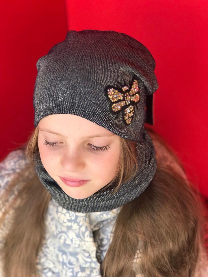 """Стильная шапочка + хомут """"Пчелка"""" для девочки"""