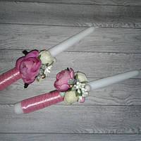 Свічки для вінчання 2шт з тканинними квітами