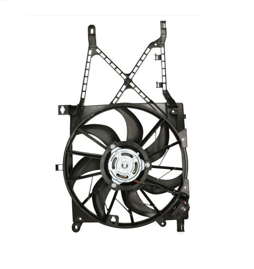 Вентилятор радиатора Opel Astra H 2004- (1.4-1.8) 390mm (с дифузором и реостатом) KEMP