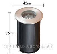 Грунтовый светильник  QL-11  LED 3W  220V размер 42мм х 75мм  6500K IP65, фото 4