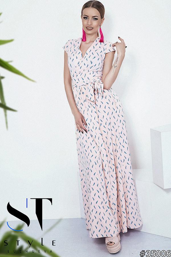 47925187374a8f4 Купить Летнее платье в пол, на запах с поясом. Пудра, 6 расцветок. в ...