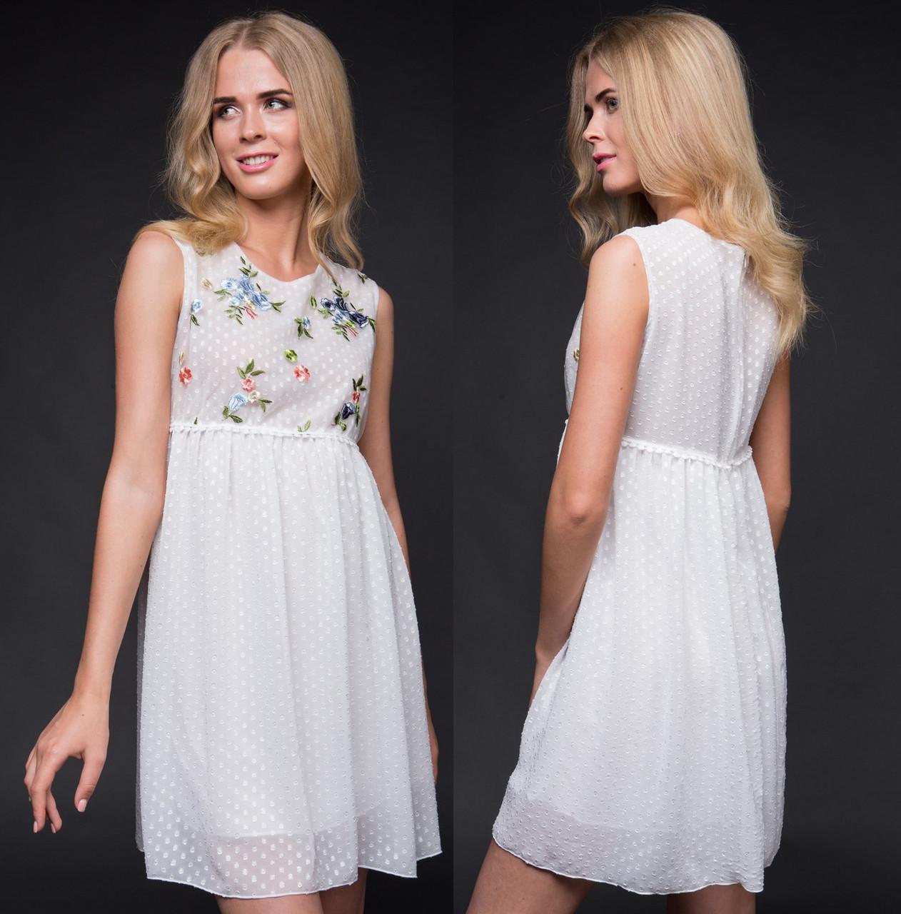 f76fc51a272 Шифоновое летнее платье с цветами. Белое